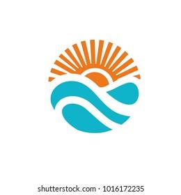 Sun sea  wave