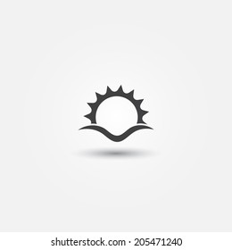 Sun and sea wave vector minimal icon - abstract sunset symbol