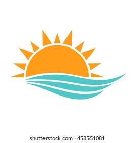 Sun and sea waves icon. Vector illustration
