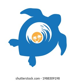 sun and sea waves inside turtle shell, vector