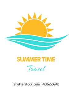 Sun and sea waves. Summertime travel vector
