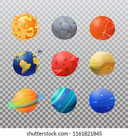 Sun and set of isolated planets like neptune and pluto, mars and venus, saturn with rings and uranus, jupiter and mercury, earth with moon satellite. Cosmos or cosmo, planetary science, astronomy