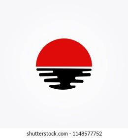 sun set and sun rise logo japan style