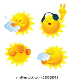 Sun set: sleeping sun, music sun, sunstroke, drinking sun