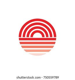 sun set symbol circle gradation design logo vector
