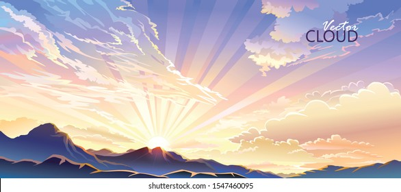 The sun setting behind the mountains and emitting radiant rays of light.