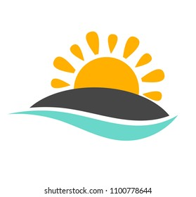 Sun setting over island and sea wave icon. Vector illustration