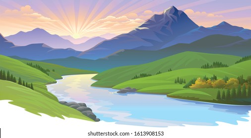 Sun setting over a landscape of river, meadows and mountains