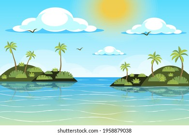 Sun shines over tropical islands landscape background in flat style. Palm trees at seashore, waves ocean water, flying birds, seaside resort panorama. Nature scenery. Vector illustration of web banner