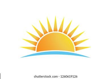 Sun shining at beach, vector logo isolated