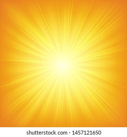 Sun shining ray elements on orange gradient background