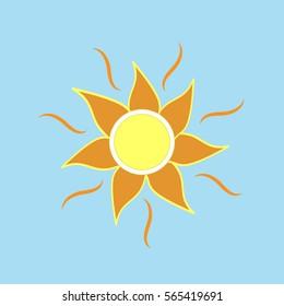 The sun sign on blue background. Orange solar mark. Bright, sunny icon good mood. Isolated logo spring, summer. Symbol hot, warm, sunlight and good weather. Flat vector image. Vector illustration.