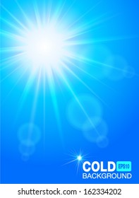 Sun in the sky. Cold blue background, vector illustration.