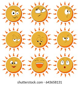 Sun Smile Icon Set Isolated on White Background. illustration. Set Of Sun Smile Emotion Icons. Set of Sun. All elements are grouped.