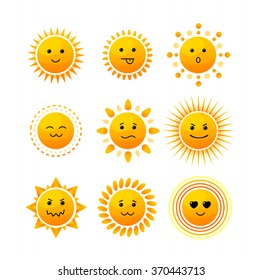 Sun Smiling Icon Set Isolated on White Background. Vector illustration