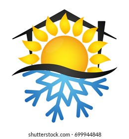 Sun and snowflake air conditioning for home illustration