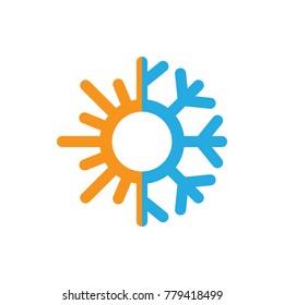 sun and snowflake logo, icon vector