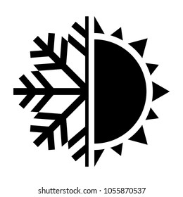 Sun and snowflake symbol. Hot and cold icon. Vector illustration