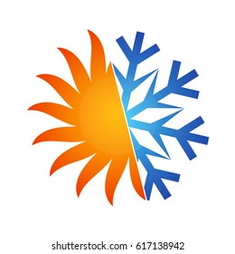 Sun and snowflake vector for air conditioning and ventilation
