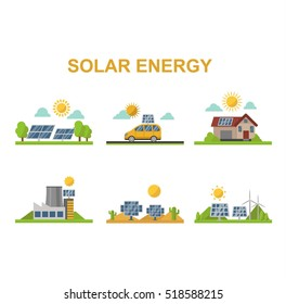 Sun solar energy vector set.