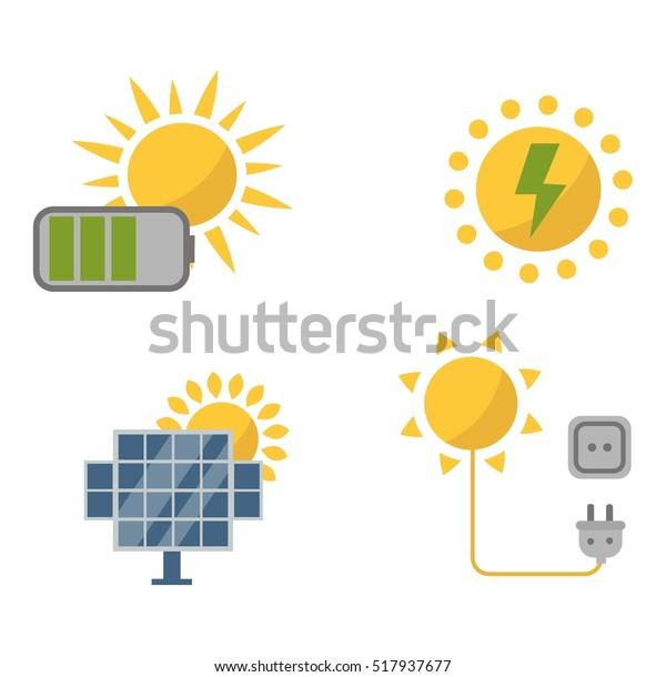 Sun Solar Energy Vector Set Stock Vector (Royalty Free