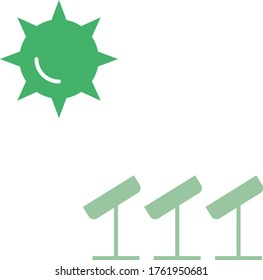 Sun and Solar Panel Eco Friendly Power Concept Vector Icon Design, Renewable and Sustainable Electricity Generation Symbol on white background