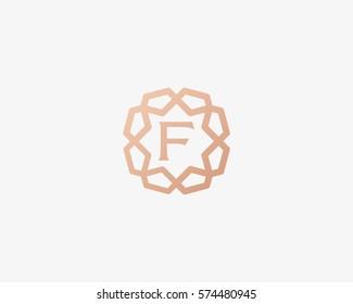Sun star letter F vector neat logotype. Luxury flower frame gem logo.