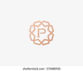 Sun star letter P vector neat logotype. Luxury flower frame gem logo.