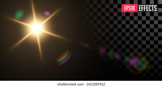 Sun with Sunbeams. Creative Vector Illustration of Transparent Lens Flare Light Effect. Concept Graphic Element.