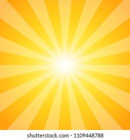 Sun. Sunburst pattern. Abstract background of sun with shining rays. Vector illustration