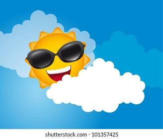 sun with sunglasses over sky with cloud. vector illustration