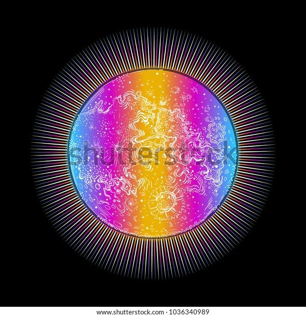 Sun Sunshine Sunlight Moon Moonlight Earth Stock Vector