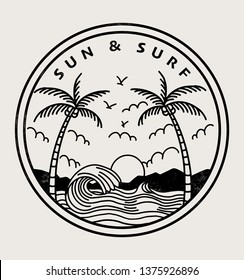 Sun and Surf text with palm trees and waves vector illustrations. For t-shirt prints and other uses