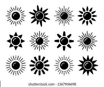 Sun symbol collection. Flat black & white vector icon set. Sunlight signs. Weather forecast. Isolated object on white background.