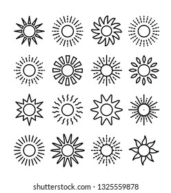Sun symbol collection. Line vector icon set. Sunlight signs. Weather forecast. Isolated object on white background.