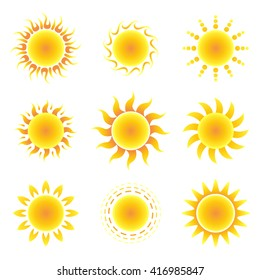 Sun symbol set on a white background. Vector illustration.