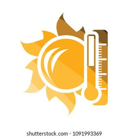 Sun and thermometer with high temperature icon. Flat color design. Vector illustration.