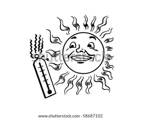 Sun Thermometer Retro Clip Art Stock Vector Royalty Free 58687102