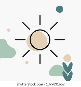 Sun three-color illustration. Outdoors, nature, wellbeing concept for yoga, fitness, nature-related branding, website elements, and print.
