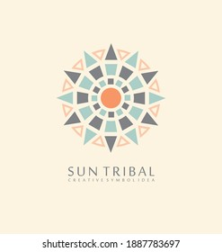 Sun tribal made from geometric shapes. Ancient symbol concept. Native emblem vector design.