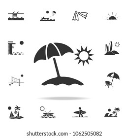 Sun Umbrella Icon. Detailed set of beach holidays icons. Premium quality graphic design. One of the collection icons for websites, web design, mobile app on white background