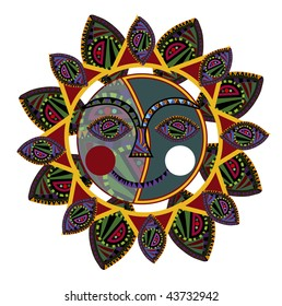 sun of the various elements in the ethnic style on a white background