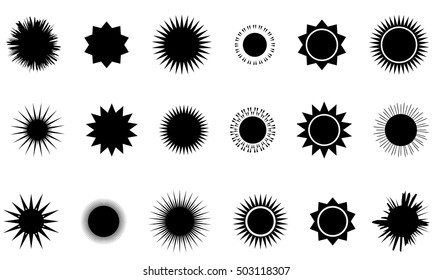 Sun vector burst icon set sol sunshine black color isolated on white background. Vector illustration.