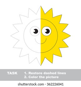Sun in vector colorful to be traced. Restore dashed line and color the picture. Worksheet to be colored.