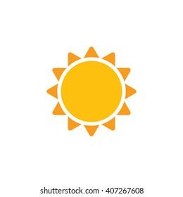 Sun vector icon. Abstract sun closeup. Yellow sun isolated on white background. Flat design. Sunshine
