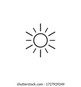 Sun Vector Icon. A symbol of the good weather and the sky on white isolated background.Sunshine icon.