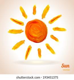 Sun. Vector illustration. Imitation of child's drawing. School theme.