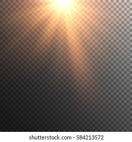 Sun vector on transparent background. Sun rays with transparency. Beams. Lens flare.