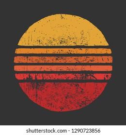 SUN Vintage Grunge Circle Illustrations