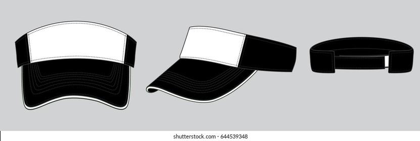 Sun Visor Cap Design (Black/White)